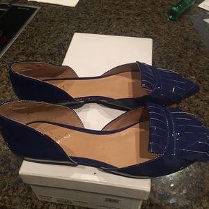 Banana Republic Shoes - Banana Republic Blue Tartan Fringe Flats, Size 8,